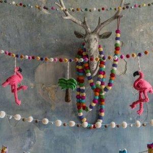 2 flamingo felt garland SET by Graham and Green